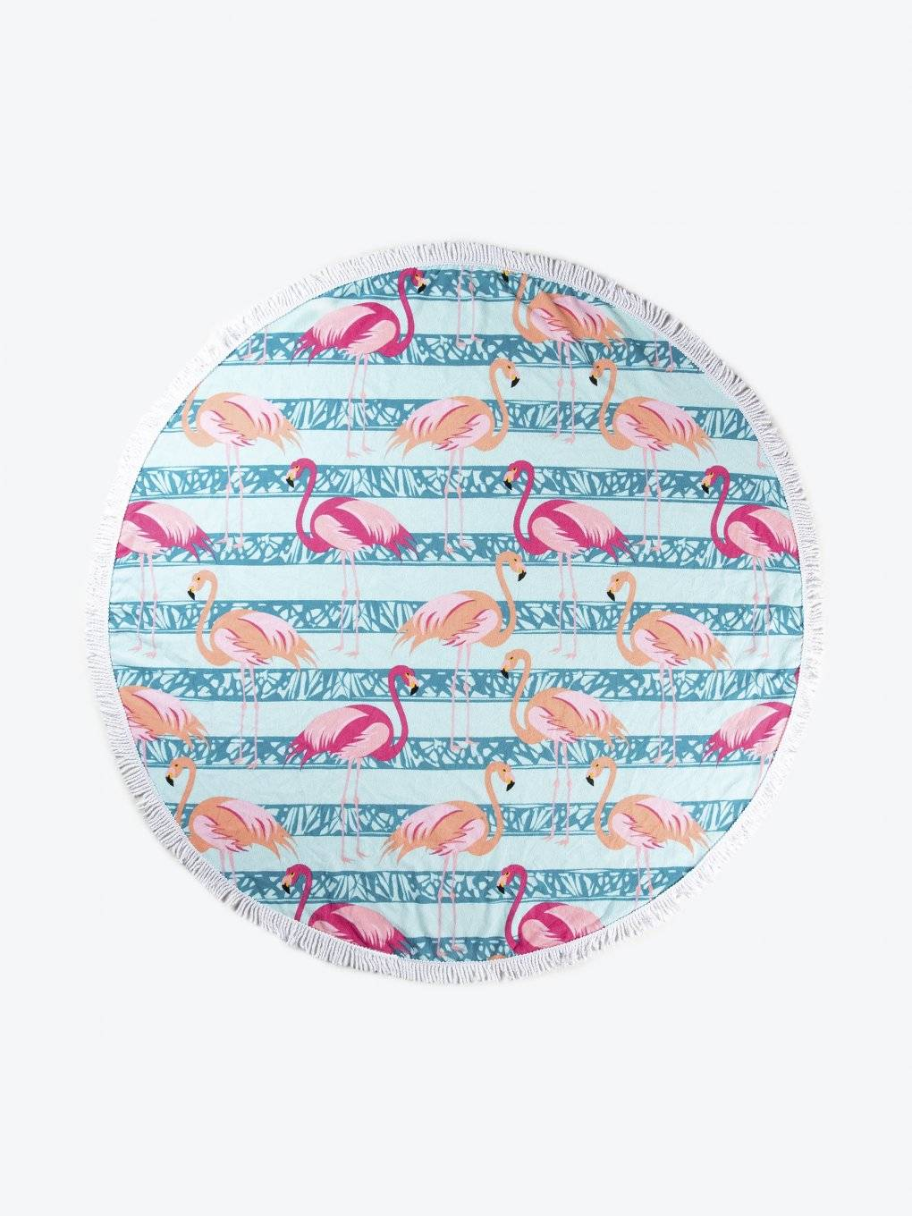 Beach towel with flamingo design and tassels