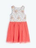 Sukienka z tiulową spódnicą i nadrukiem kwiatowym