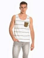 Striped tank with chest pocket
