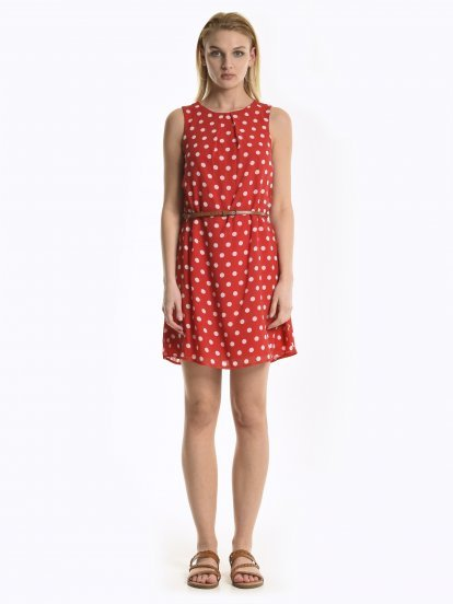 Polka dot print chiffon dress with belt