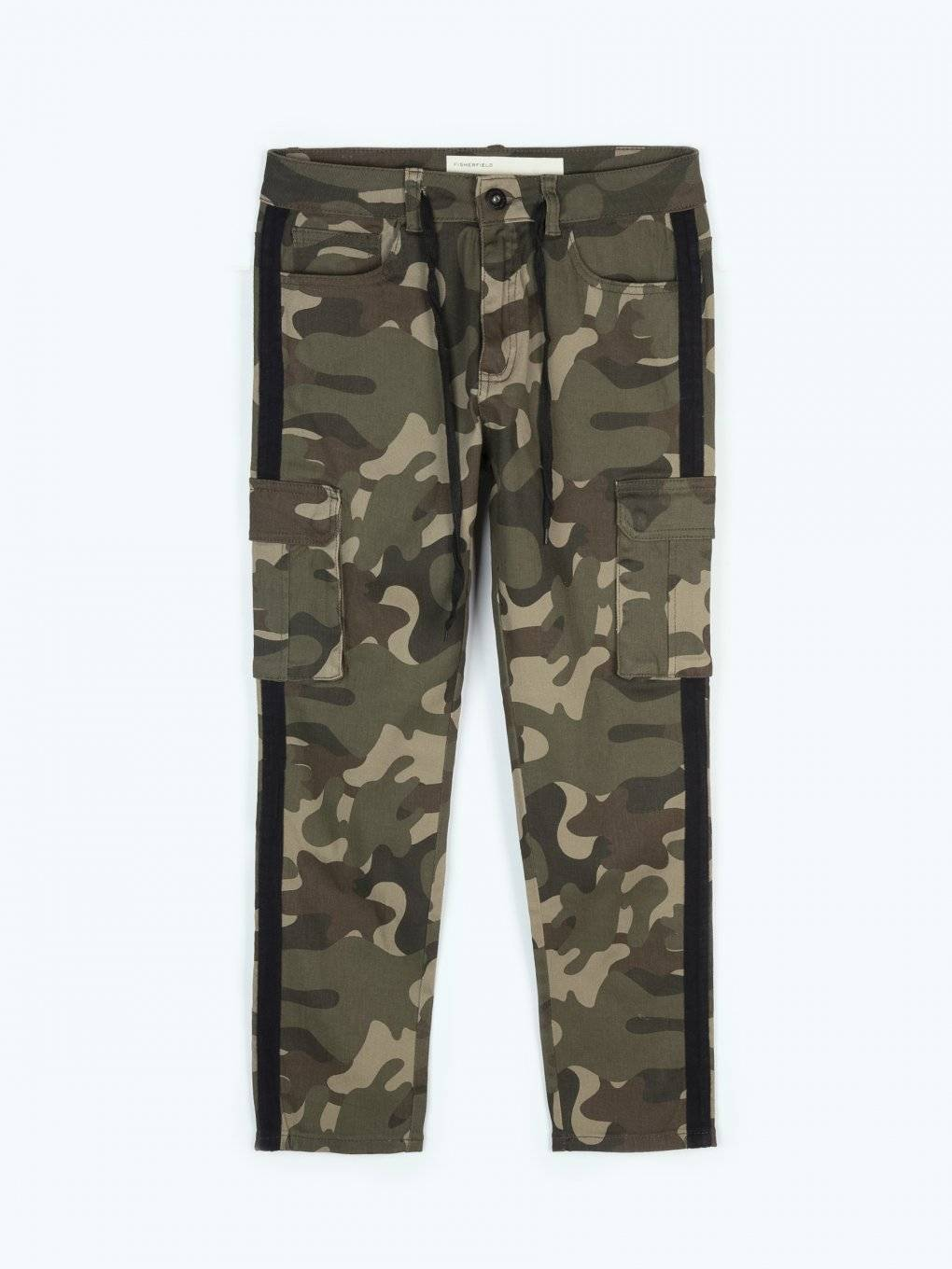 Taped camo print cargo pants