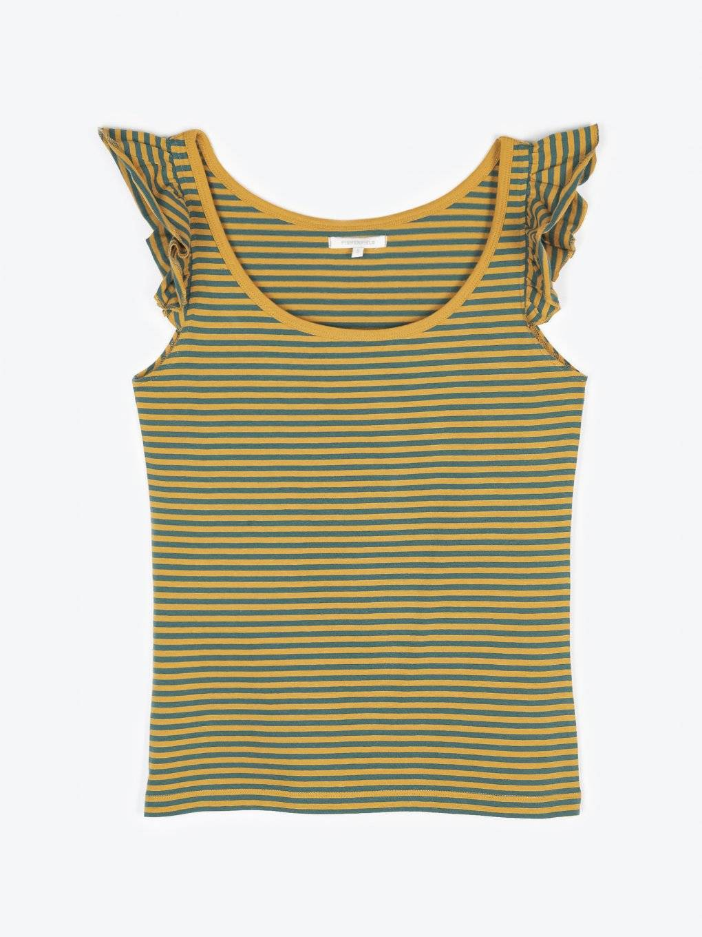 Striped tank with ruffles