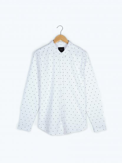 Printed cotton regular fit shirt