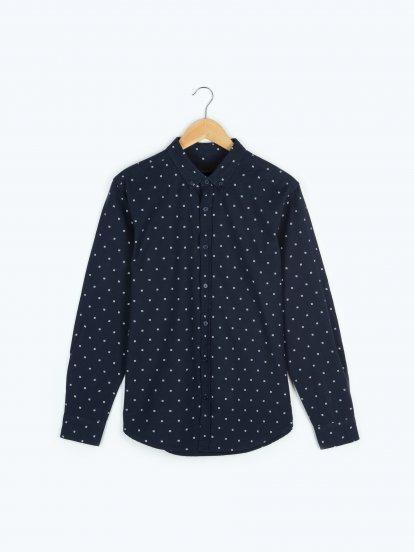 Printed cotton regular fit shirt