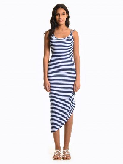 Striped dress with asymmetric hem