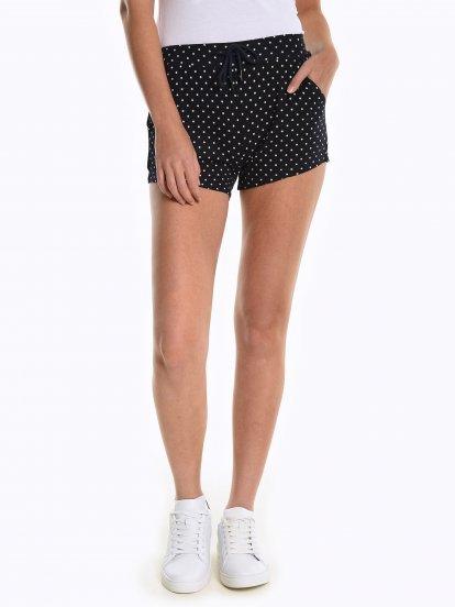 Polka dot print sweat shorts