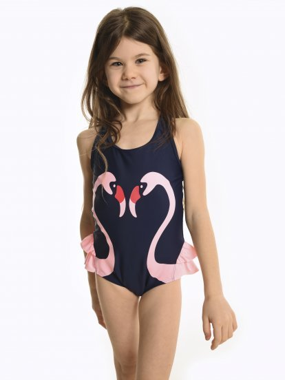 Swimsuit with flamingo print