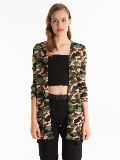 Camo pattern longline cardigan