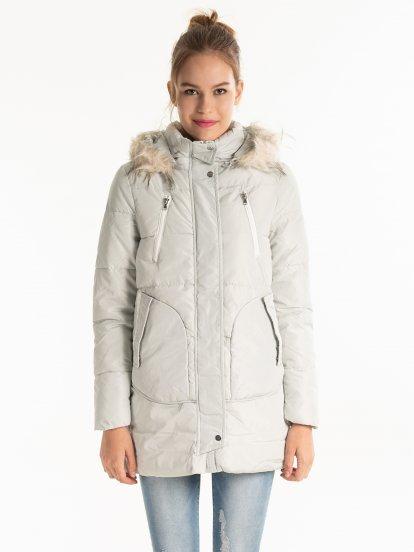 Oversized padded jacket with hood