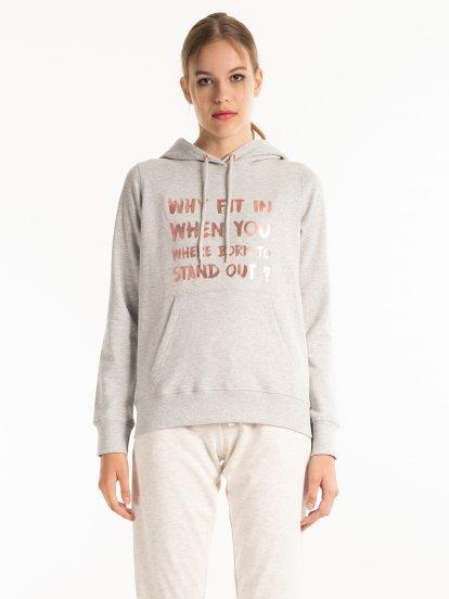 Metallic message print hoodie