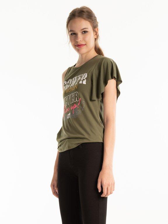 Asymmetrical t-shirt with print