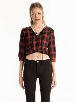 Plaid cotton blouse with front lacing
