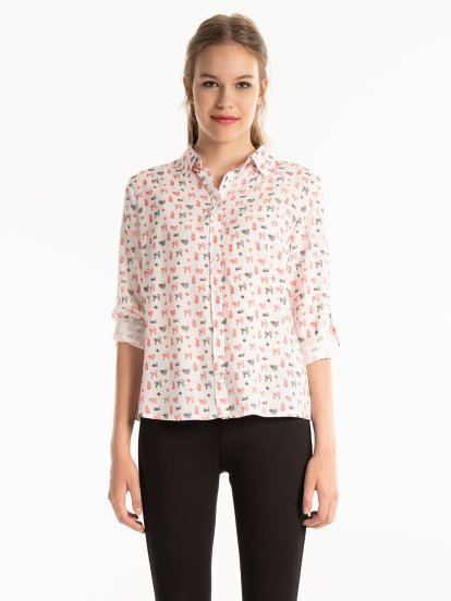Kitty print viscose shirt