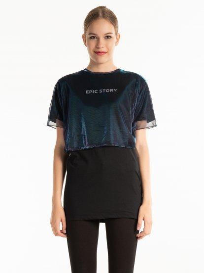 Dlhé kombinované tričko s potlačou