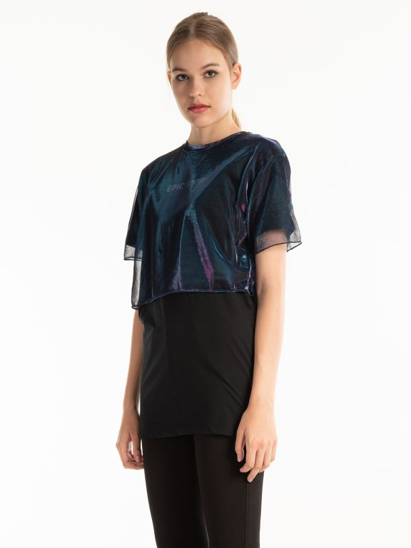 LONGLINE COMBINED T-SHIRT WITH PRINT
