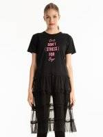 LONGLINE COMBINED T-SHIRT WITH MESSAGE PRINT