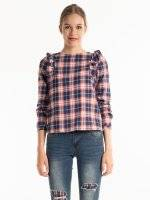 Plaid cotton blouse with ruffles