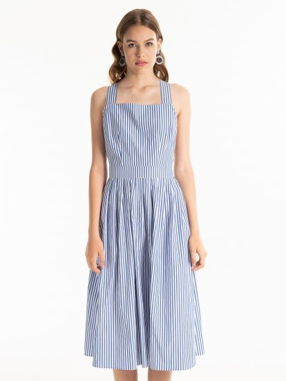 Striped A-line dress with side pockets