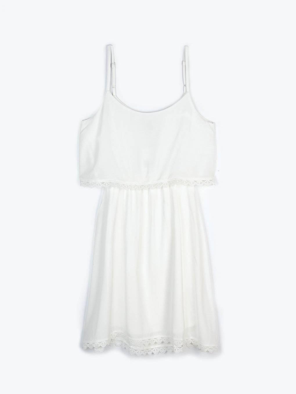 Sukienka bez rękawów z haftowanym detalem