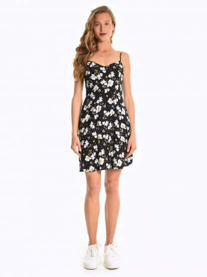 Floral print dress with open back detail