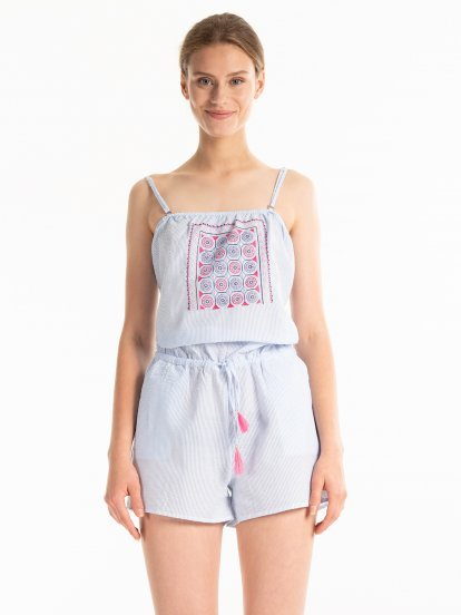 STRIPED SHORT JUMPSUIT WITH EMBROIDERY