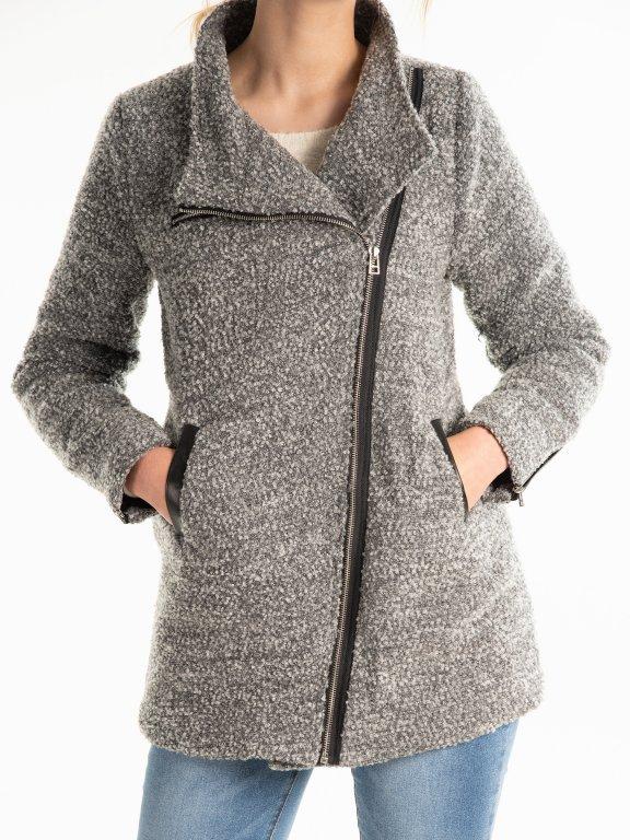 Marled biker coat