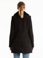 Biker coat with faux fur detail