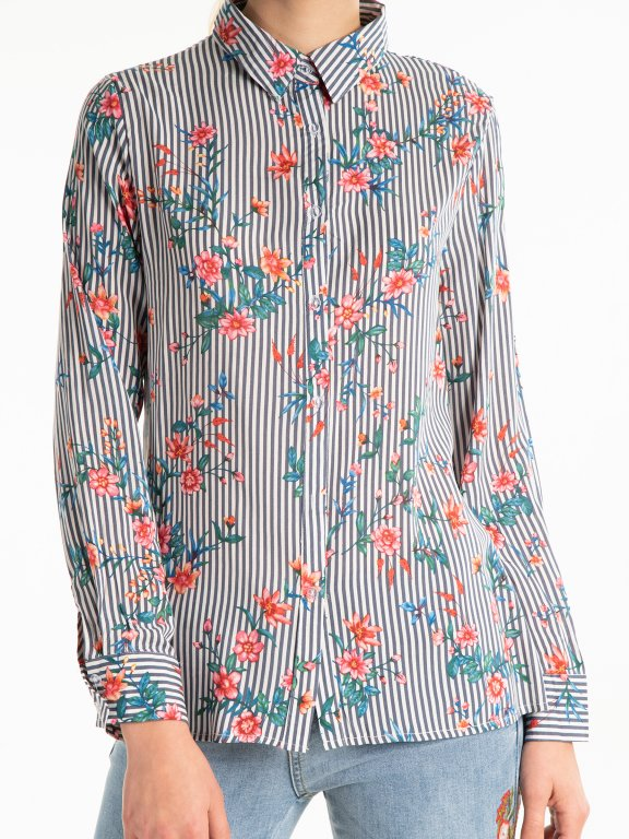 Striped viscose shirt with floral print