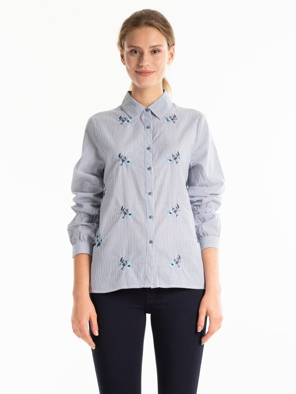 Striped shirt with frilled sleeves and flower embroidery