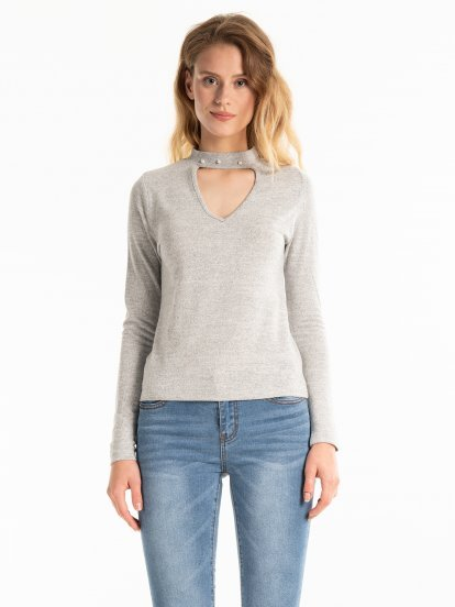CHOKER COLLAR MARLED TOP WITH PEARLS
