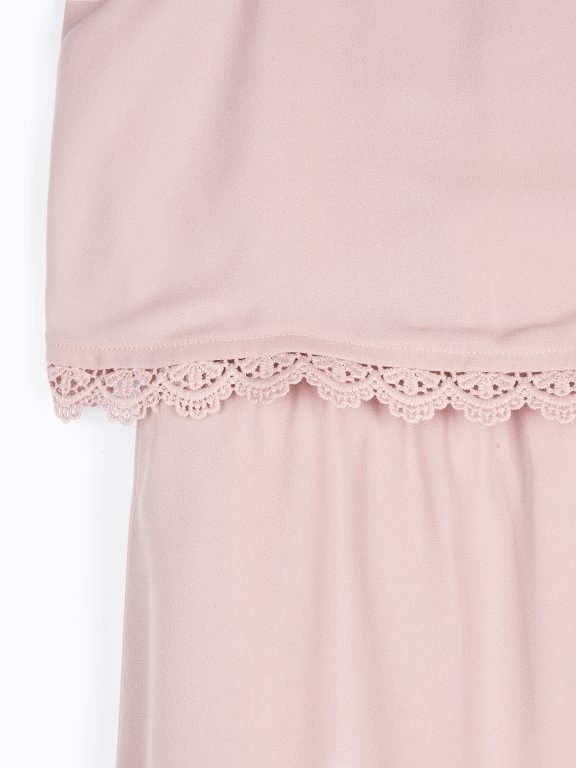 Sleeveless dress with crochet detail