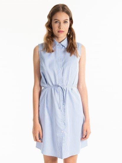 Proužkované košilové šaty bez rukávů