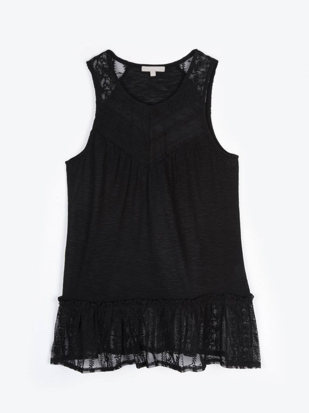 Lace tank with ruffle