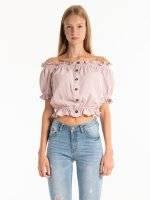 Off-the-shoulder button down blouse