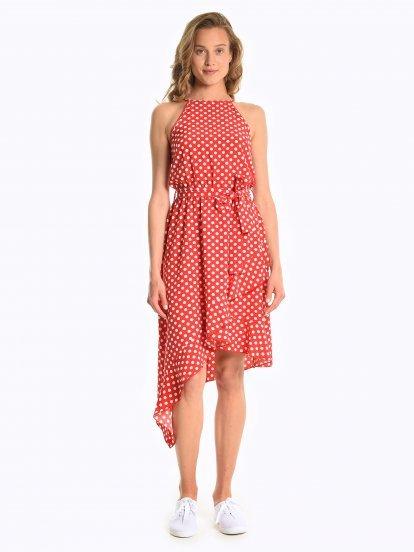 Halterneck polka dot print dress
