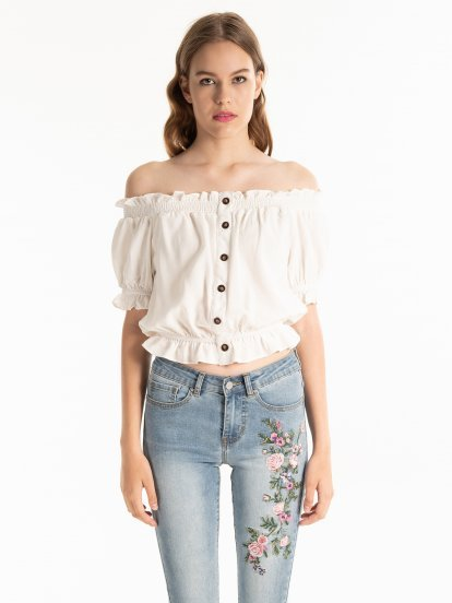 Off-the-shoulder button down blouse