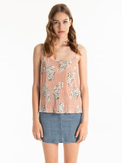 Pleated tank with floral print