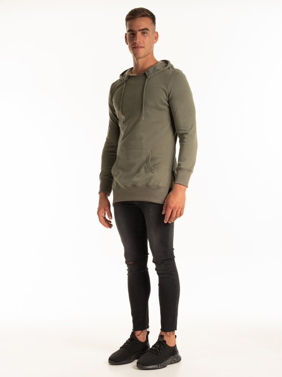LONGLINE HOODIE WITH SIDE SLITS
