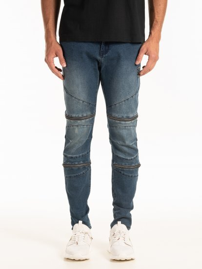 STRAIGHT SLIM FIT BIKER JEANS