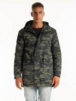 Light padded camo print cotton parka