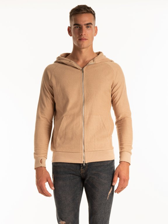 Zip-up hoodie with thumb hole