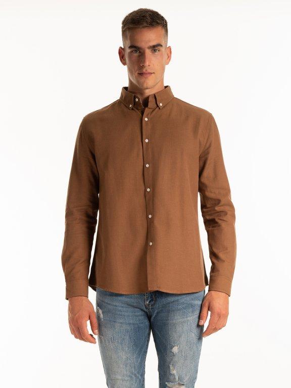 Lyocell and cotton blend regular fit shirt