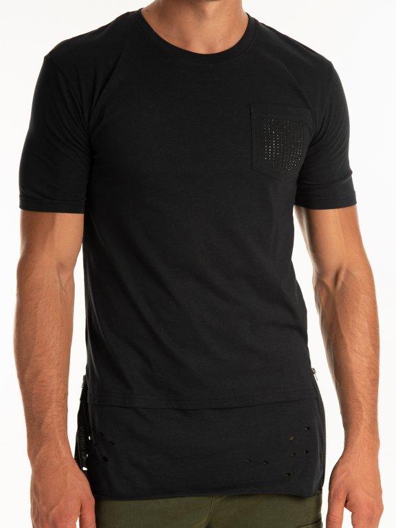 Longline t-shirt with embelishment