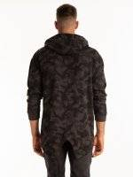 Longline camo print zip-up hoodie with fish tail