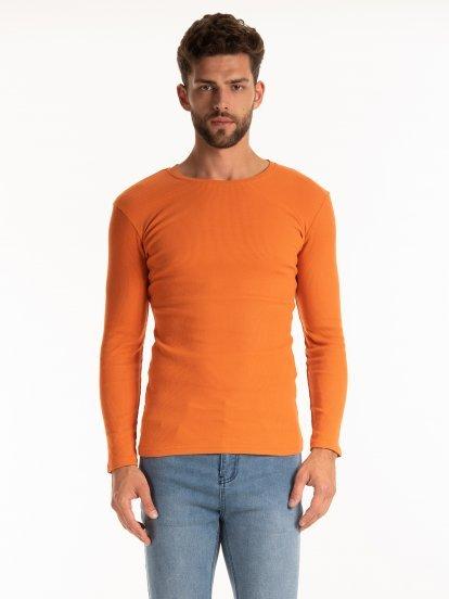 Jednoduché žebrované tričko s dlouhým rukávem