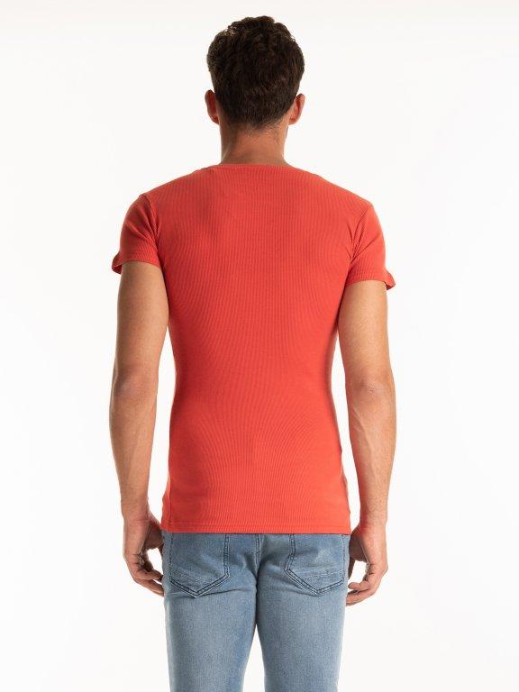 Základné rebrované tričko s krátkym rukávom