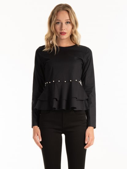 Peplum blouse with pearls