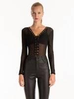 Mesh lace-up bodysuit