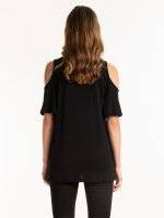 COLD SHOULDER T-SHIRT WITH EMBROIDERY