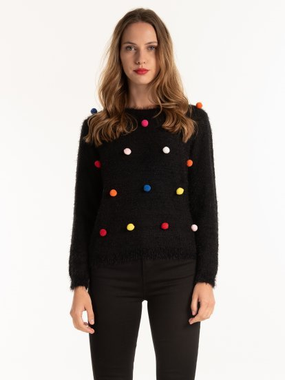 JUMPER WITH COLOURFUL MINI POM-POMS